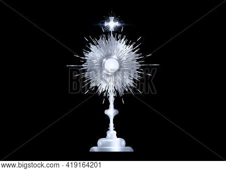 Monstrance Silver Ostensorium Used In Roman Catholic, Old Catholic And Anglican Ceremony Traditions.
