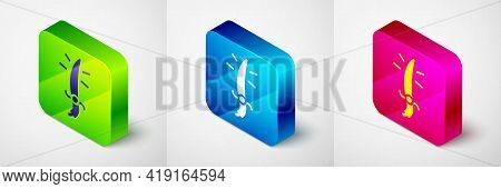 Isometric Arabian Saber Icon Isolated On Grey Background. Square Button. Vector