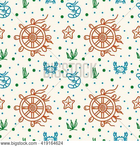 Sea Life Vector Pattern. Doodle Background Of Marine, Oceanic, River Life, Underwater World. Marine