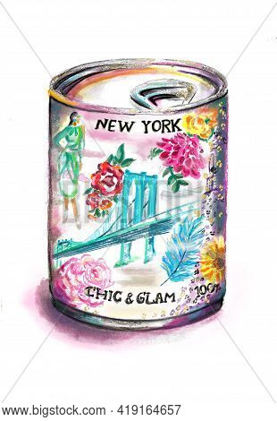Hand-drawn Bright Colorful Stylized Fashion Illustration Of A Tin Can With Gilding,  Watercolor Flor