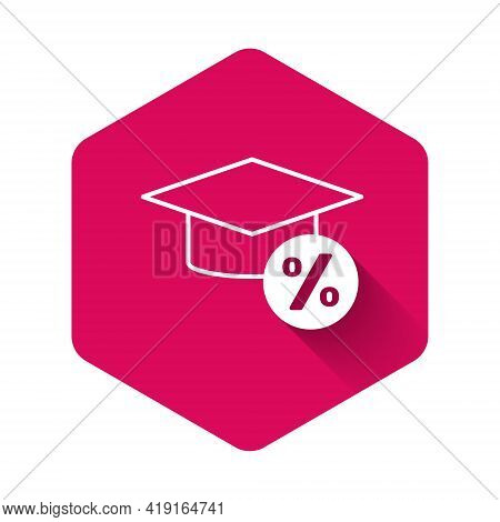 White Graduation Cap And Coin Icon Isolated With Long Shadow Background. Education And Money. Concep