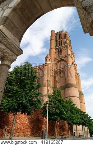 Albi, France - July 17, 2014: View Of The Siant Cecile Cathedral Of Albi, Episcopal City Listed As W