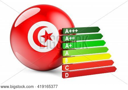 Tunisian Flag With Energy Efficiency Rating. Performance Certificates In Tunisia Concept. 3d Renderi