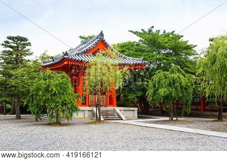 Fushimi Inari Taisha Shrine In Kyoto, Japan With Beautiful Red Gate And Japanese Garden. Red Torii G