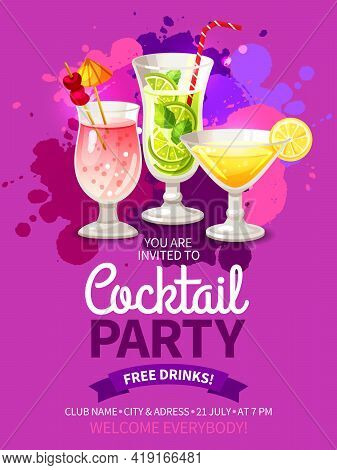 Bright Color Flyer For Invitation To Night Club Cocktail Summer Party Vector Illustration