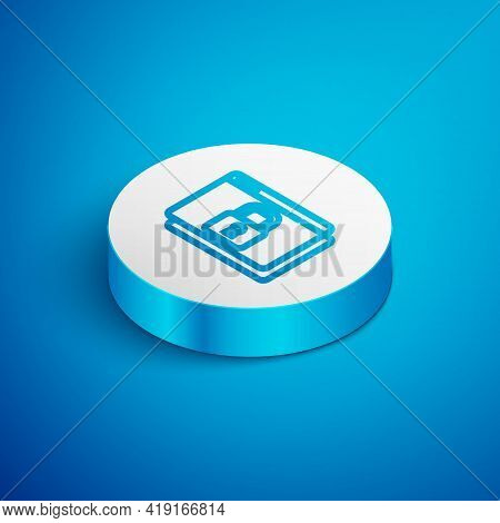 Isometric Line Secure Your Site With Https, Ssl Icon Isolated On Blue Background. Internet Communica