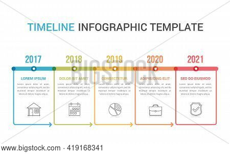 Horizontal Timeline Template With Five Arrows, Infographic Template For Web, Business, Presentations