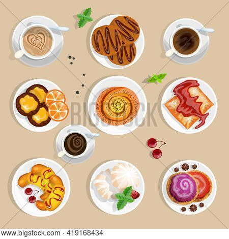 Pastry Top View Set. Coffee And Sweets Vector Illustration. Confectionery Cartoon Symbols. Coffee An
