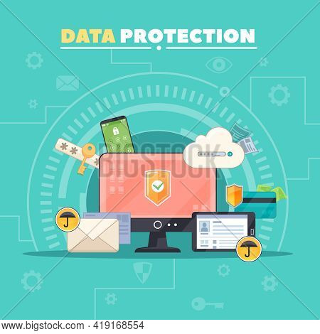 Computer Communications Safety And Private Data Protection Flat Composition Poster With Antivirus So