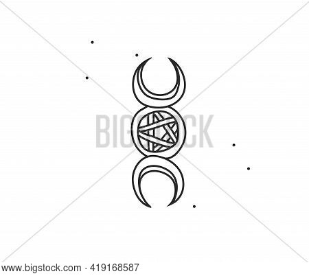 Hand Drawn Vector Abstract Stock Flat Graphic Illustration With Logo Element Line Art Of Mystic Occu