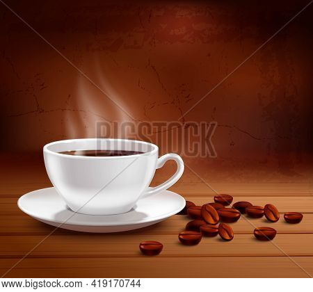 Coffee Poster With Realistic White Porcelain Cup On Textured Background Vector Illustration
