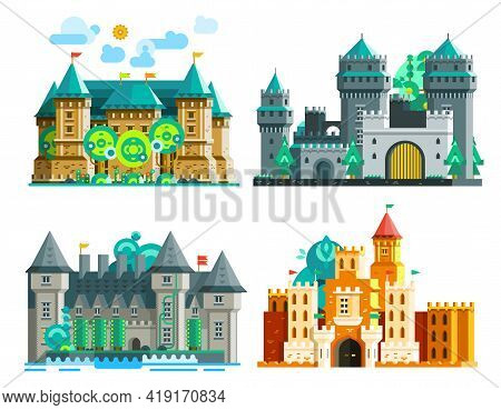 Colorful Castles Set Of Medieval Era With Towers And Domes In Flat Style Isolated Vector Illustratio
