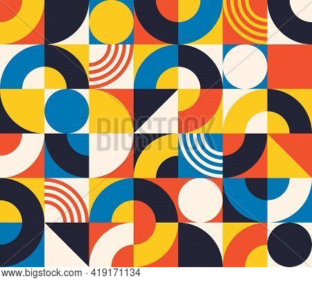 Bauhaus Seamless Pattern. Abstract Square Tiles With Circle And Triangle. Retro Print In Minimal Sty