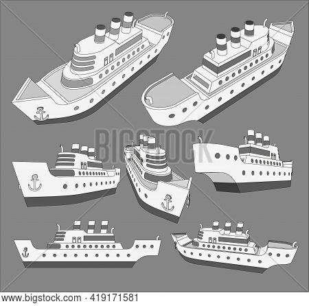 Set,collection With Cruise Big Ship 3D Models With Three Pipes Good For Travel And Tourism Ads, Book