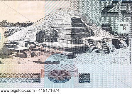 San Andres - Pyramid From Old Salvadoran Money - Colon