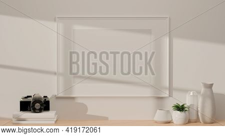 3D Rendering, Interior Home Design With Mock-up Frame On White Wall And Wooden Desk With Camera, Boo