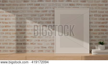 3D Rendering, Interior Home Design, Wooden Desk With Mock-up Frame, Books, Plant Pot And Copy Space