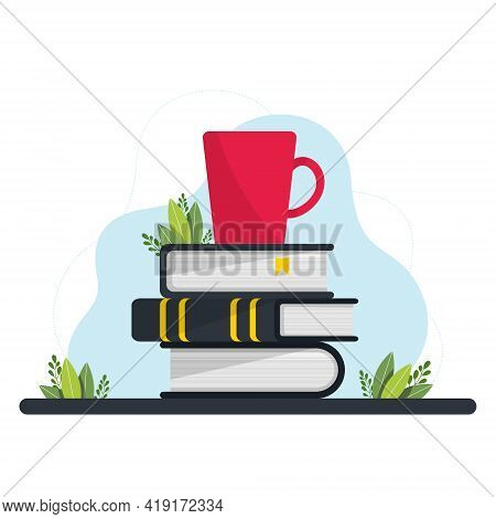 A Stack Of Books And A Mug. Books And Reading Set. Textbooks For Academic Studies. Literary Fans. Ve