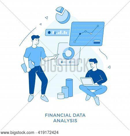 Linear Flat Financial Data Analysis Concept Vector Illustration. Cartoon Character Businessmen Worki