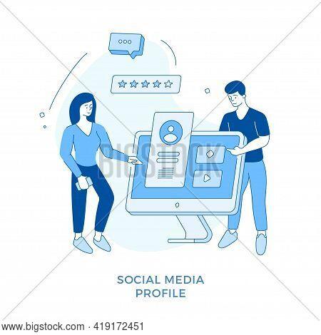 Linear Flat Social Media Profile Concept Illustration. Female Cartoon Character Editing Profile Info