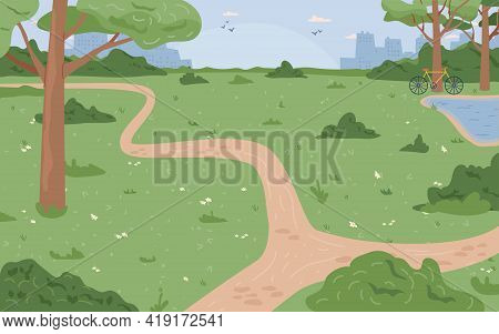 Park With Green Grass And Trees, River Lake Or Stream, City Scape Background. Environment Nature, Bl