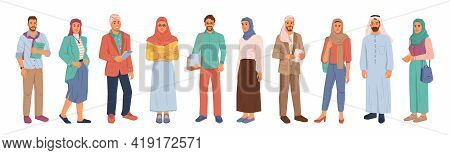 Modern Muslim People, Businessman And Businesswoman Isolated Flat Cartoon People Set. Arabians In Na