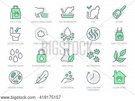 Cat Litter Line Icons. Vector Illustration Include Icon - Sandbox, Kitty Tray Filter, Bag, Biodegrad