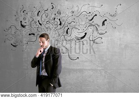 Choice Concept With Pensive Buisnessman On Concrete Wall Background With Black Arrows Directed In Di