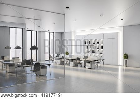 Modern Spacious Coworking Office Hall With Stylish Interior Design, Light Walls, Glossy Floor, Huge