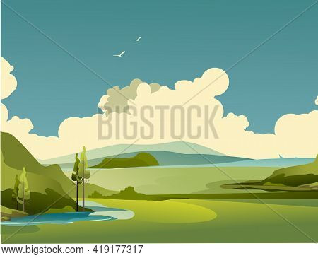 Panorama Of The Countryside, Beautiful Landscape Of A Sunny Day, Grassy Field And Forest, Vector Ill