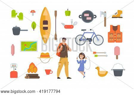 Tourist Equipment And Hiking Accessories On White Background. Camping Elements Kit For Outdoor Adven