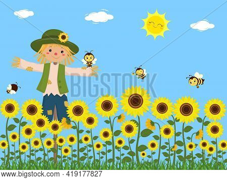 Sunflowers, A Scarecrow And Cute Bees Collect Nectar. Blue Sky, Sun, Clouds, Grass. Vector, Cartoon
