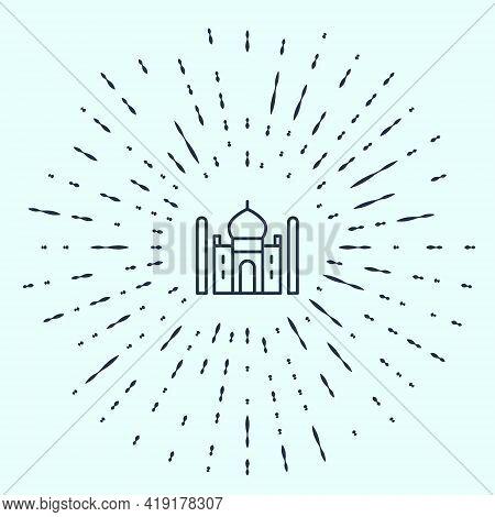 Black Line Taj Mahal Mausoleum In Agra, Indiaicon Isolated On Grey Background. Abstract Circle Rando