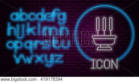 Glowing Neon Line Burning Aromatic Incense Sticks Icon Isolated On Brick Wall Background. Neon Light
