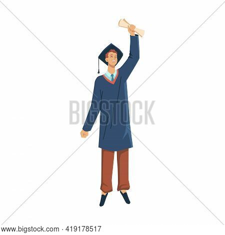 Man Student In Academic Gown Celebrate Graduation From College, University Or High School Isolated F