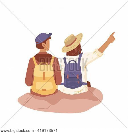 Couple Of People With Backpacks, Tourist Travelers Flat Cartoon People Isolated. Vector Tourists Bac
