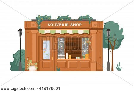Souvenir Shop Facade Exterior Isolated Small Retail Business Building Flat Cartoon. Vector Antique S