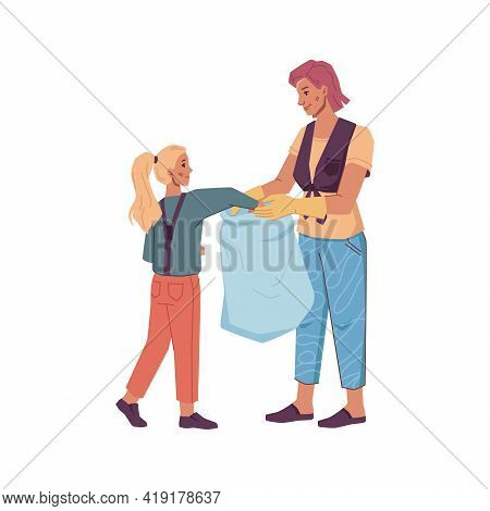 Volunteers Woman And Young Girl Gather Litter Into Bag Isolated Cartoon Characters. Vector Mother An