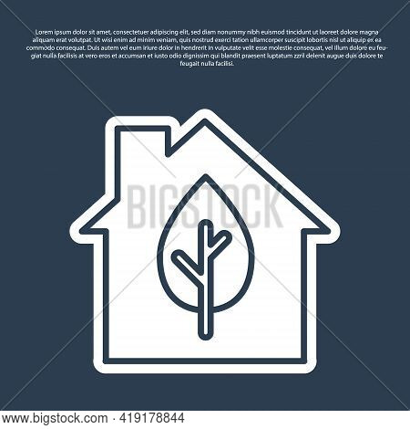 Blue Line Eco Friendly House Icon Isolated On Blue Background. Eco House With Leaf. Vector