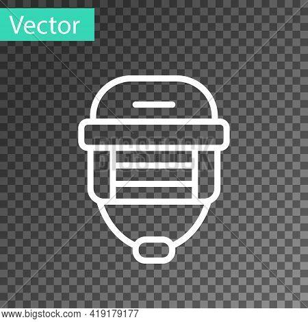 White Line Hockey Helmet Icon Isolated On Transparent Background. Vector