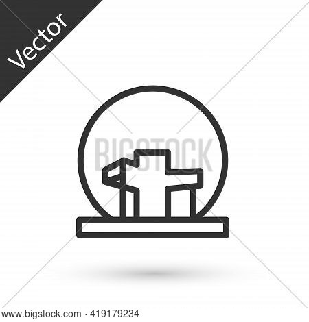 Grey Line Montreal Biosphere Icon Isolated On White Background. Vector