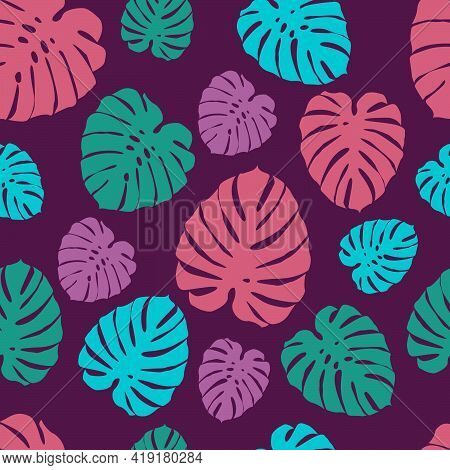 Seamless Pattern With Tropical Leaves. Monstera Leaves. Exotic Leaves. Stock Vector Illustration On