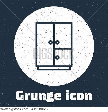 Grunge Line Wardrobe Icon Isolated On Grey Background. Monochrome Vintage Drawing. Vector