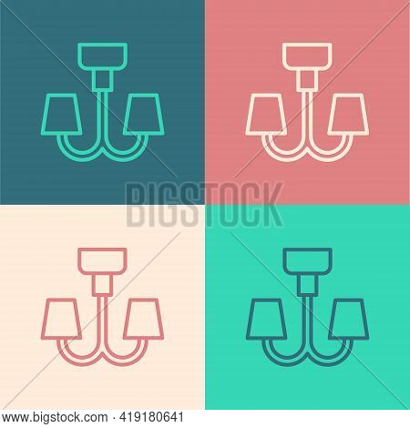 Pop Art Line Chandelier Icon Isolated On Color Background. Vector