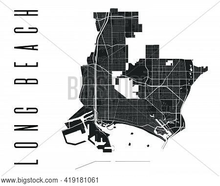 Long Beach Map. Detailed Vector Map Of Long Beach City Administrative Area. Cityscape Poster Metropo