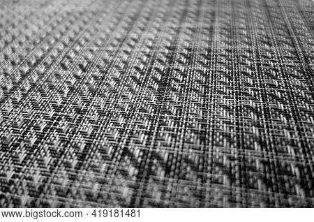 Plastic Cover Pattern With Blur Effect In Black And White. Abstract Background And Texture For Desig