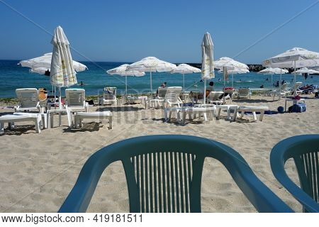 View On The Beach From The Bar Table. Seasonal Natural Background.