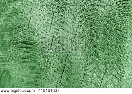 Part Of Wood Curving On Oak In Green Tone. Natural Background And Texture.
