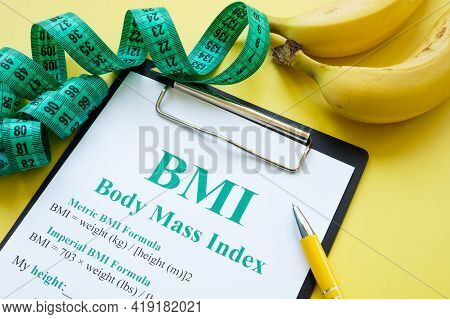 Measuring Tape And Bmi Body Mass Index Formula.