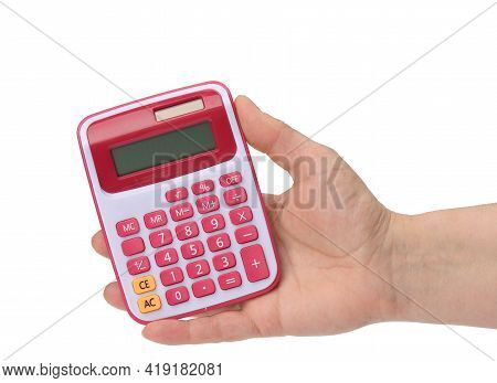 Female Hand Holding A Pink Calculator On A White Background, Close Up